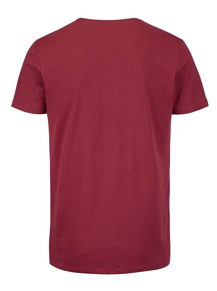 Tricou vișiniu cu print Blend din bumbac