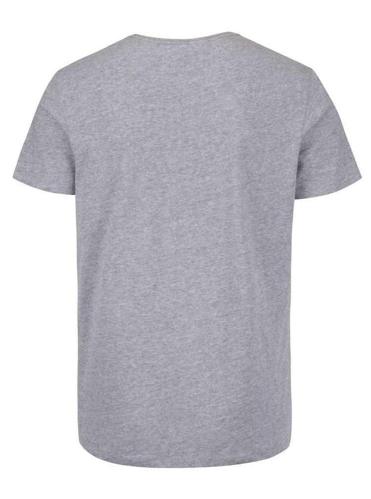 Světle šedé triko s kulatým výstřihem a potiskem Blend