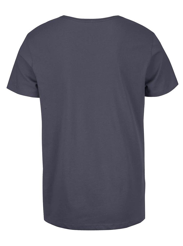 Modrošedé triko s kulatým výstřihem a potiskem Blend