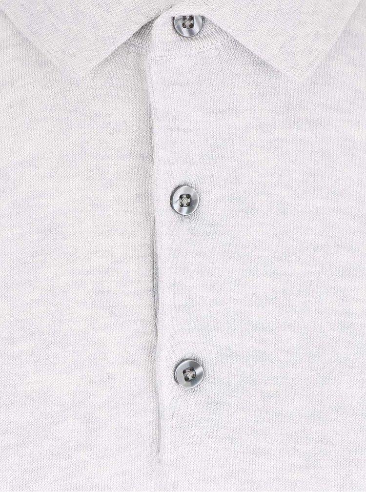 Světle šedé polo triko s knoflíky Burton Menswear London