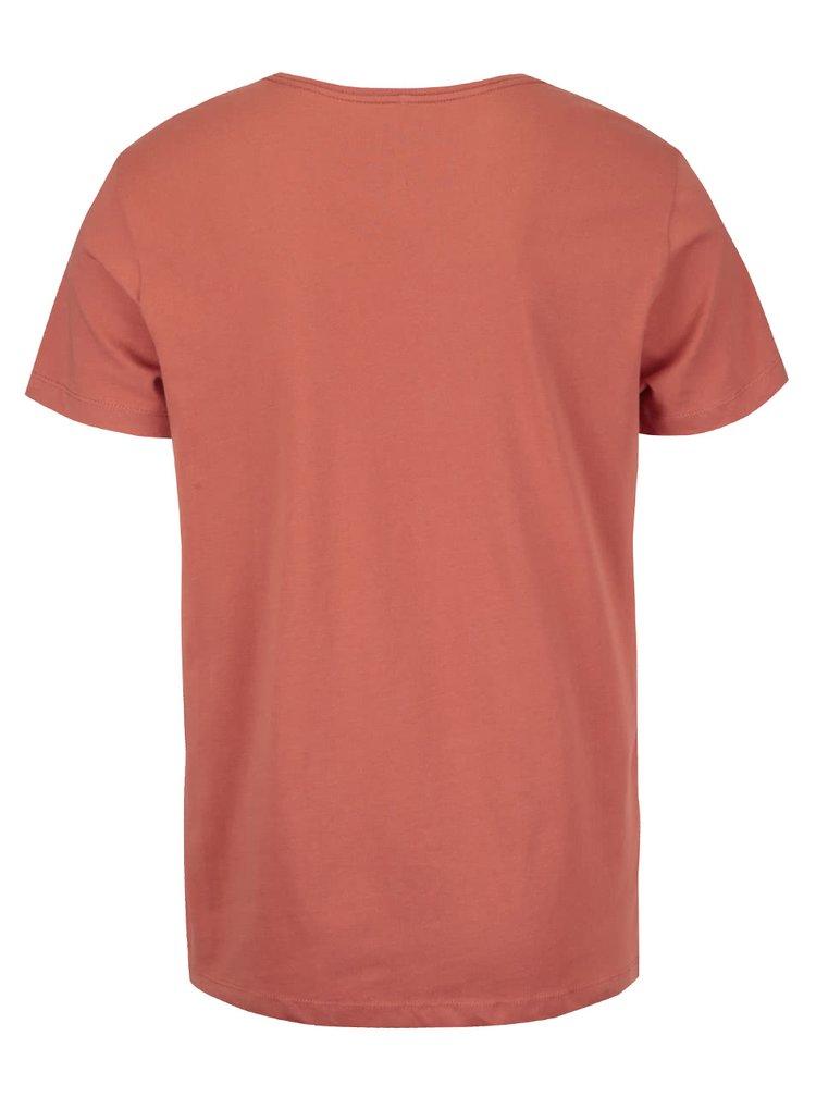 Oranžové triko s potiskem Blend