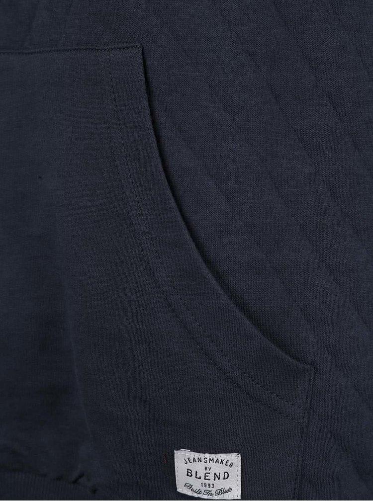 Pulover albastru închis matlasat Blend din bumbac