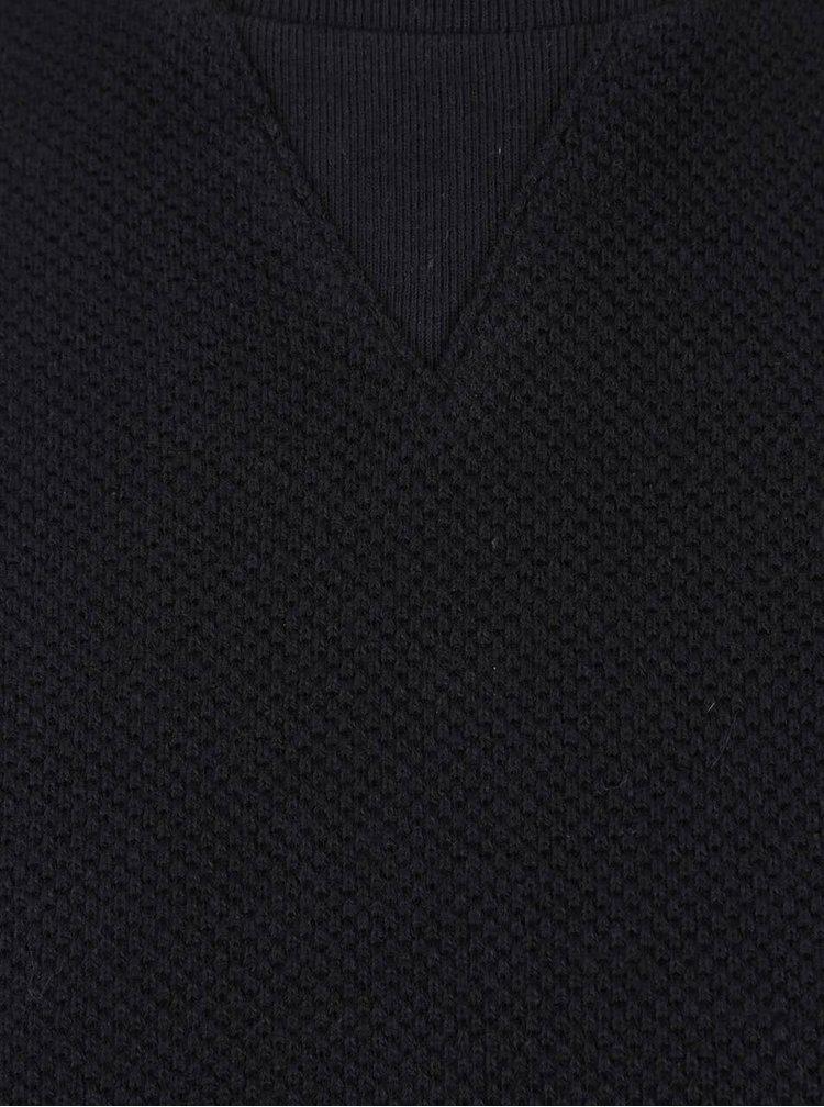 Čierna štruktúrovaná mikina s okrúhlym výstrihom Blend