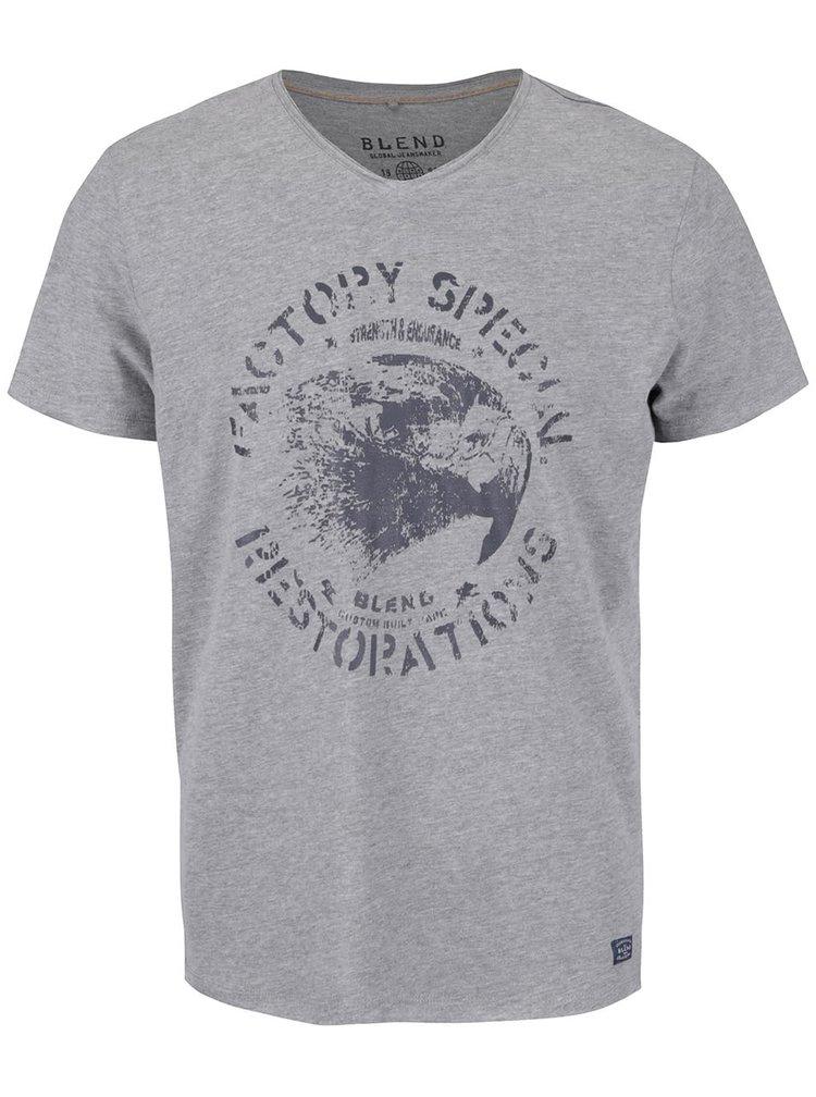 Tricou gri deschis cu print Blend din bumbac