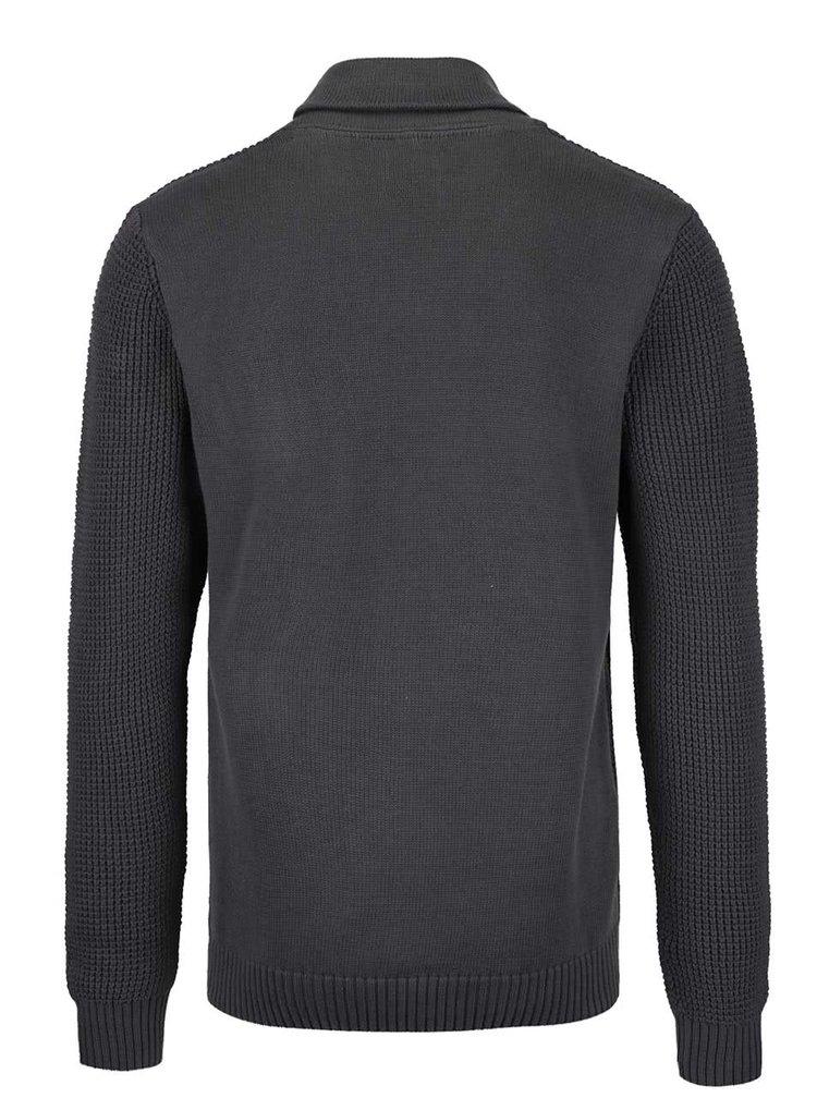 Sivý sveter s golierom a gombíkom Blend