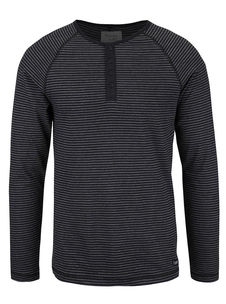 Sivo-čierne pruhované tričko s dlhým rukávom Blend