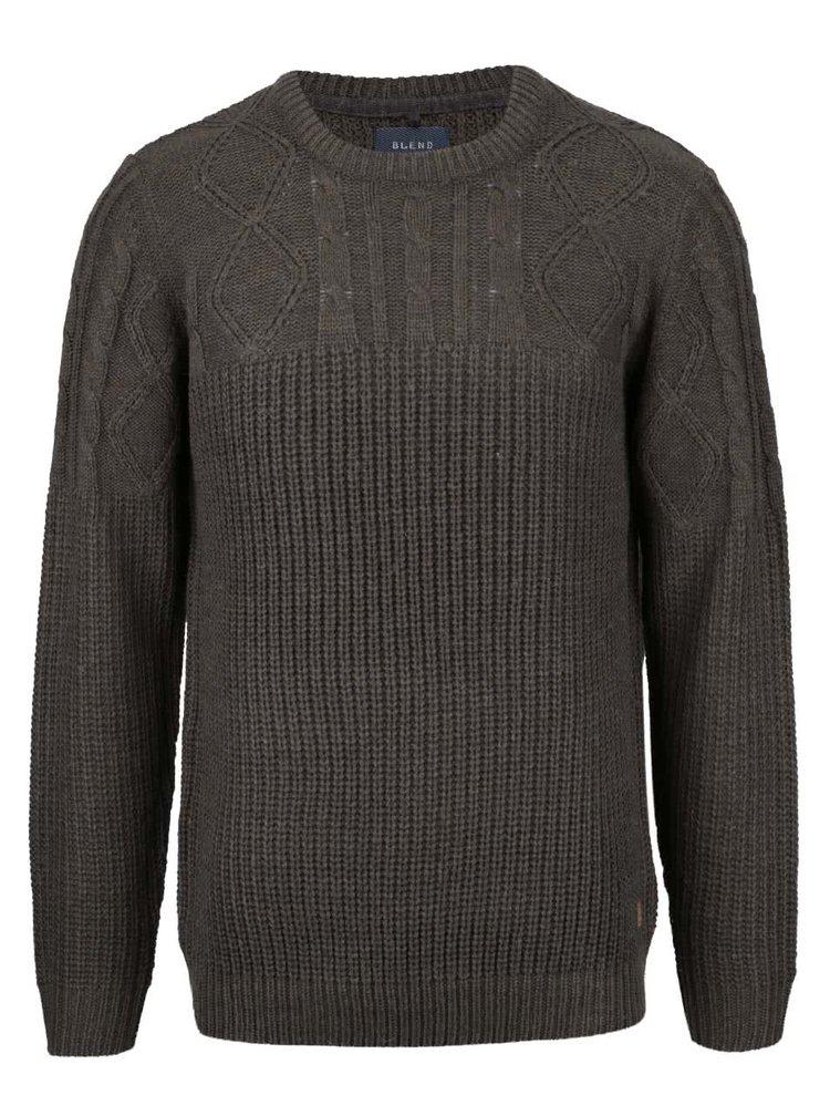 Khaki melírovaný platený sveter Blend