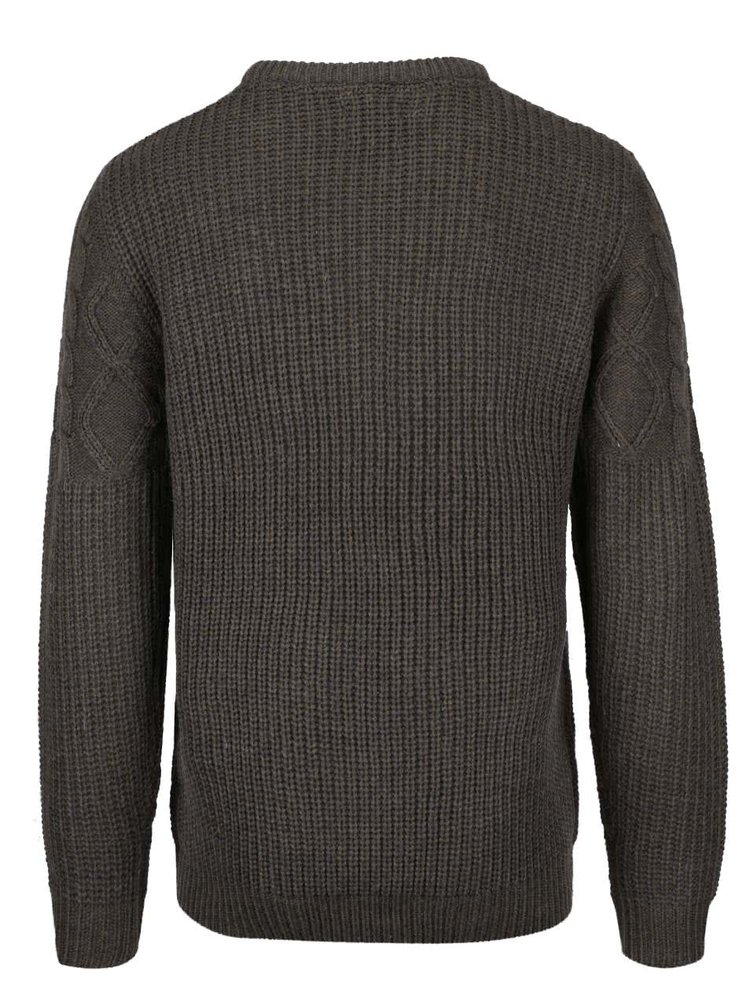 Khaki žíhaný pletený svetr Blend