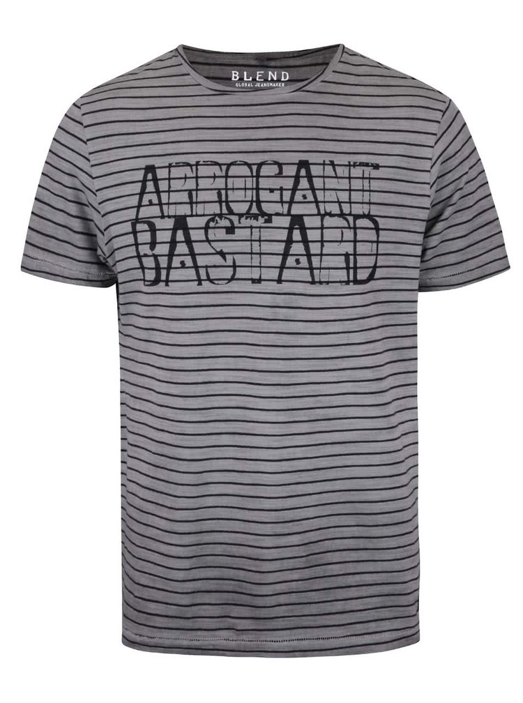 Sivé pruhované tričko s potlačou Blend