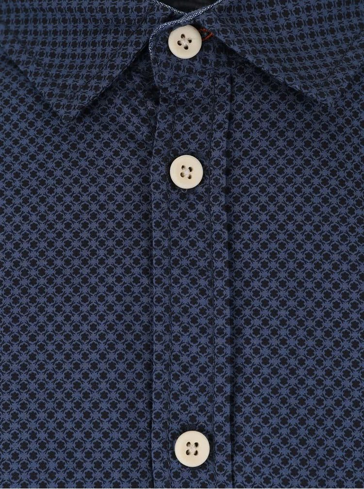Camasa neagra & albastru Blend slim fit din bumbac
