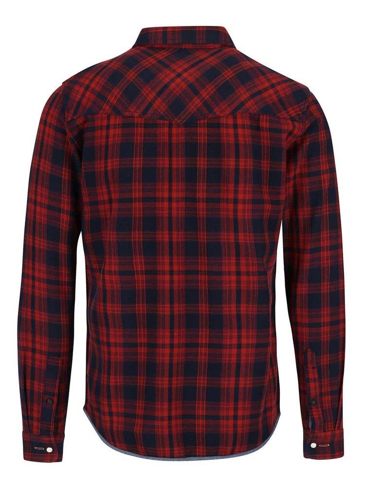 Červená kockovaná slim fit košeľa Blend