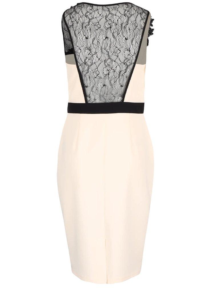 Krémové šaty s černým krajkovým dekoltem Little Mistress