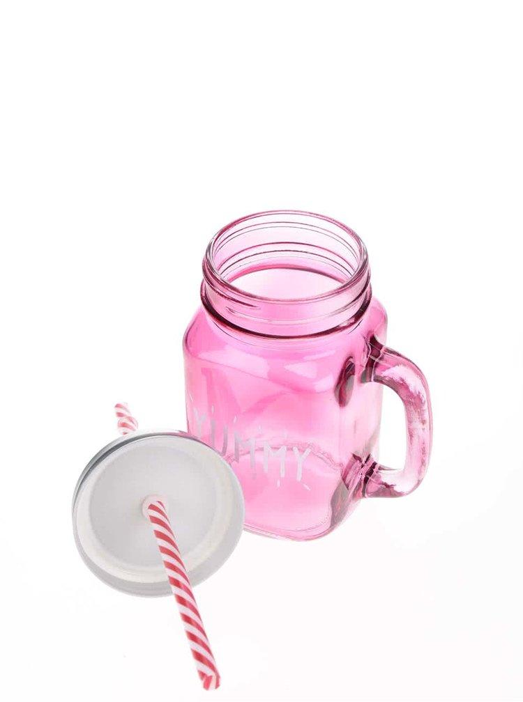 Tmavě růžový skleněný hrnek s brčkem CGB