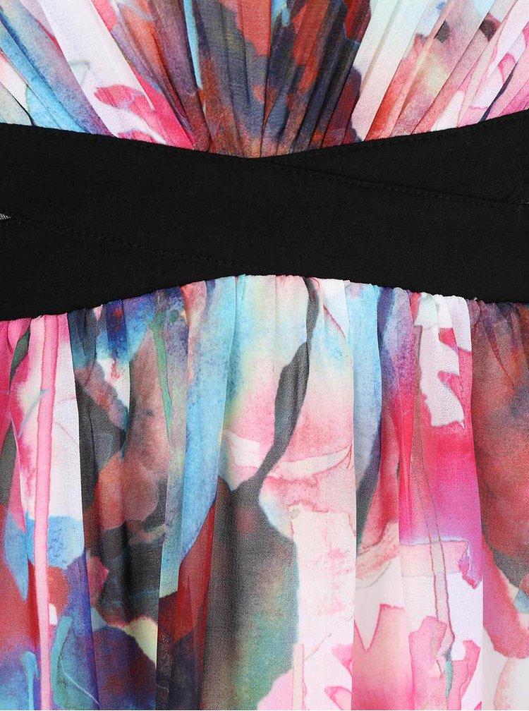 Krémové maxišaty s potlačou farebných kvetov Little Mistress