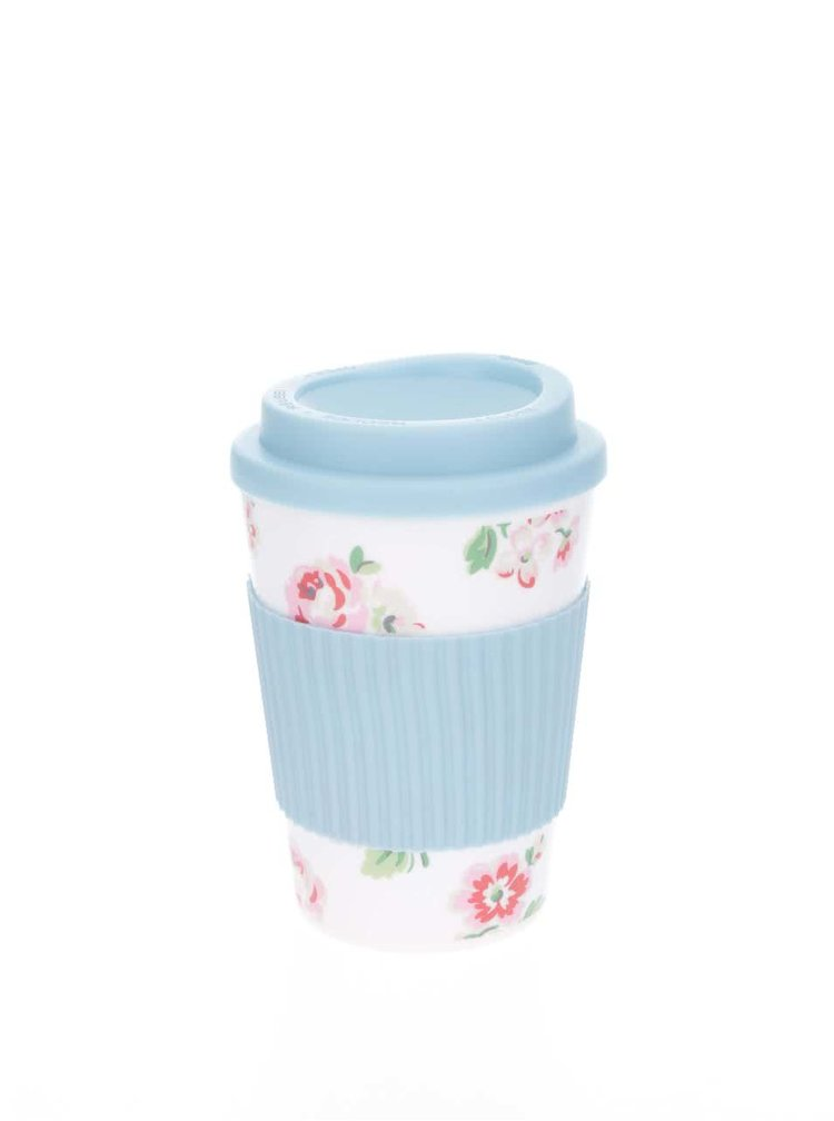 Bielo-modrý cestovný hrnček s kvetovaným motívom Cath Kidston