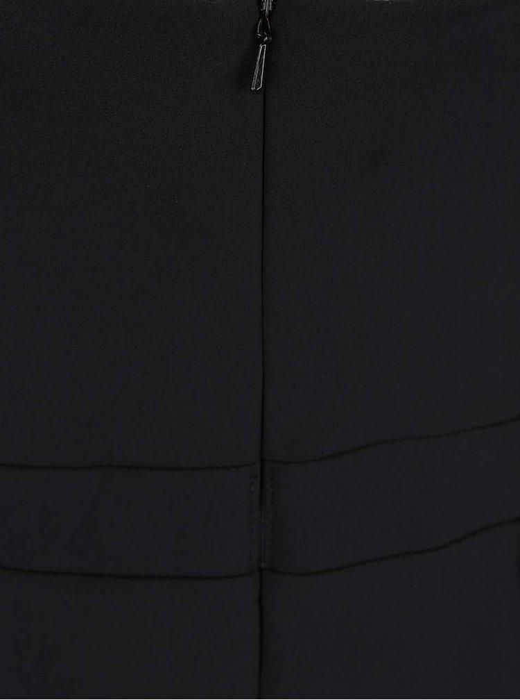 Černé šaty s volánem a korálkovou nášivkou v dekoltu Little Mistress