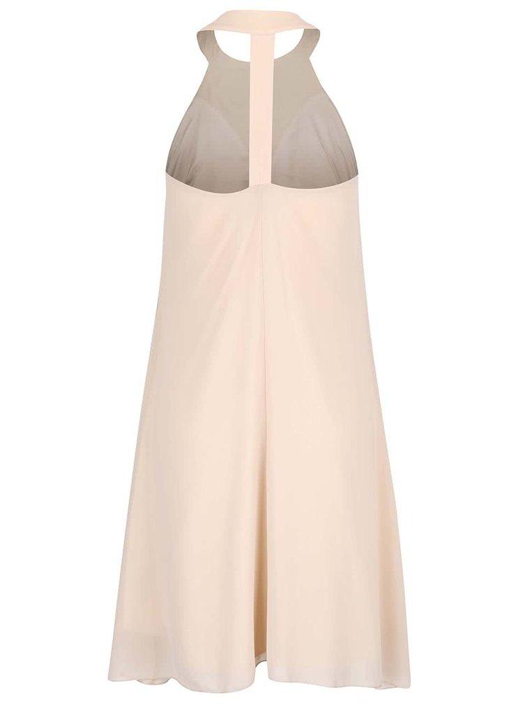 Béžové šaty s korálkovým dekoltom Little Mistress