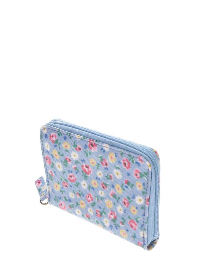 Modrá květovaná miniaturní peněženka na zip Cath Kidston