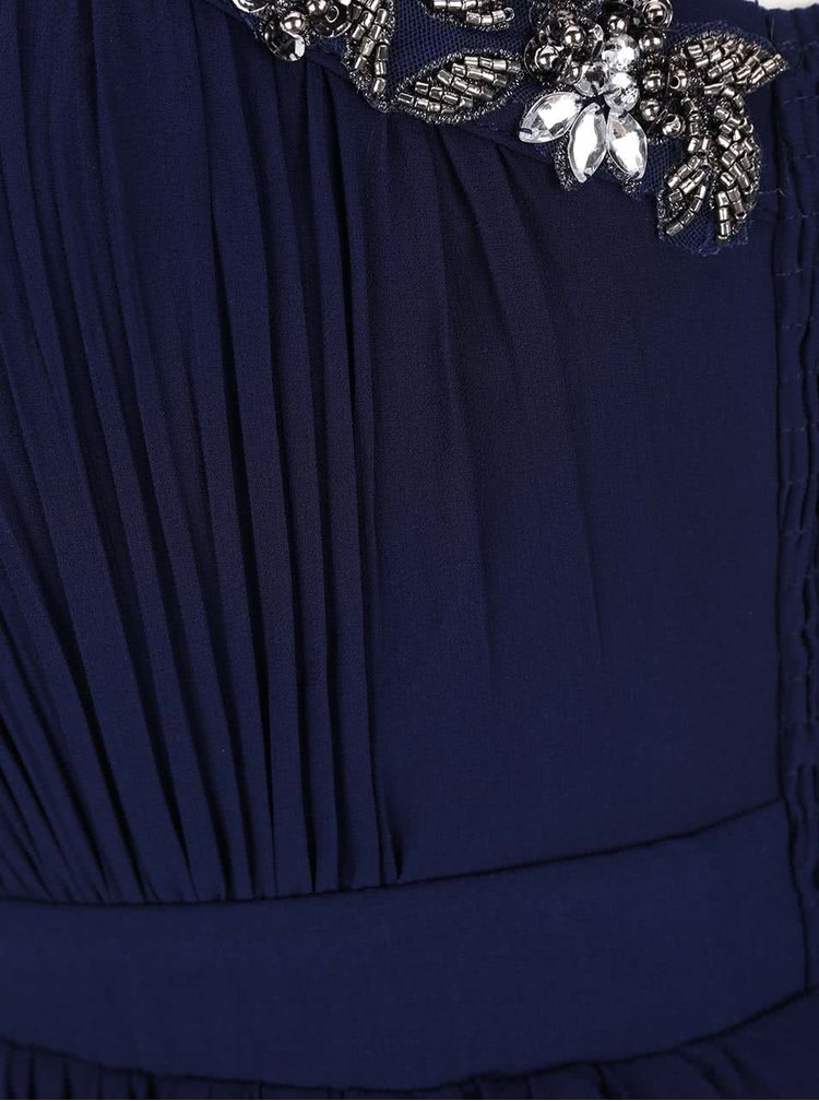 Tmavě modré šaty s korálkovým detailem na ramínkách Little Mistress