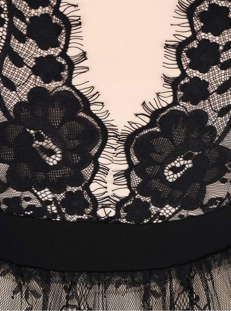 Rochie crem-negru Little Mistress cu dantela