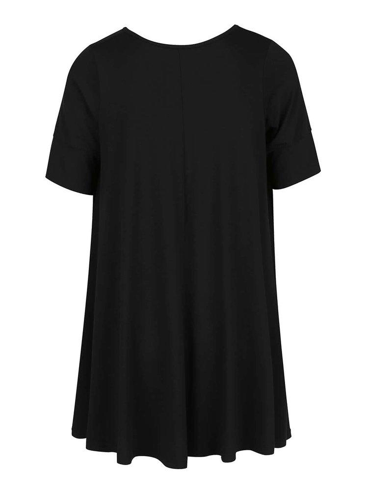 Tricou negru oversized ZOOT cu tiv asimetric