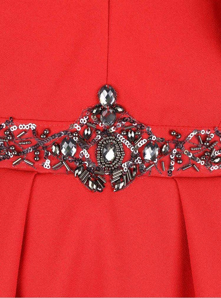 Rochie rosie Little Mistress cu detalii argintii