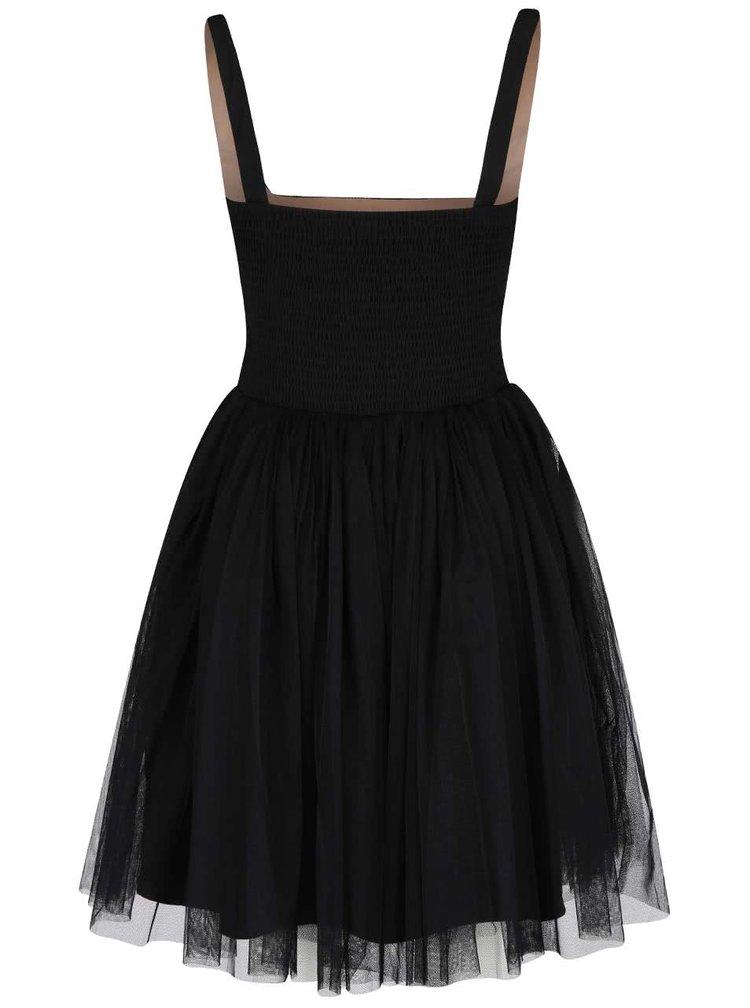 Béžovo-čierne šaty s čipkovaným topom Little Mistress
