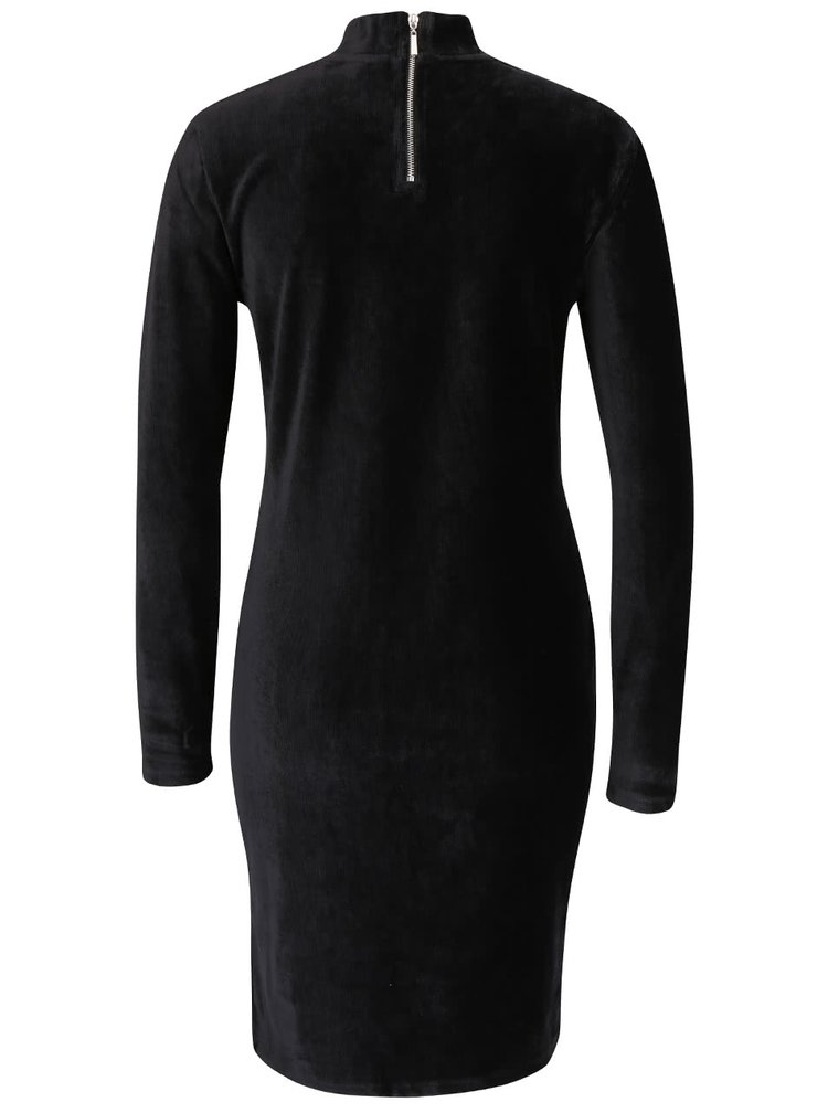 Černé sametové šaty ke krku s dlouhým rukávem VERO MODA Corduroy