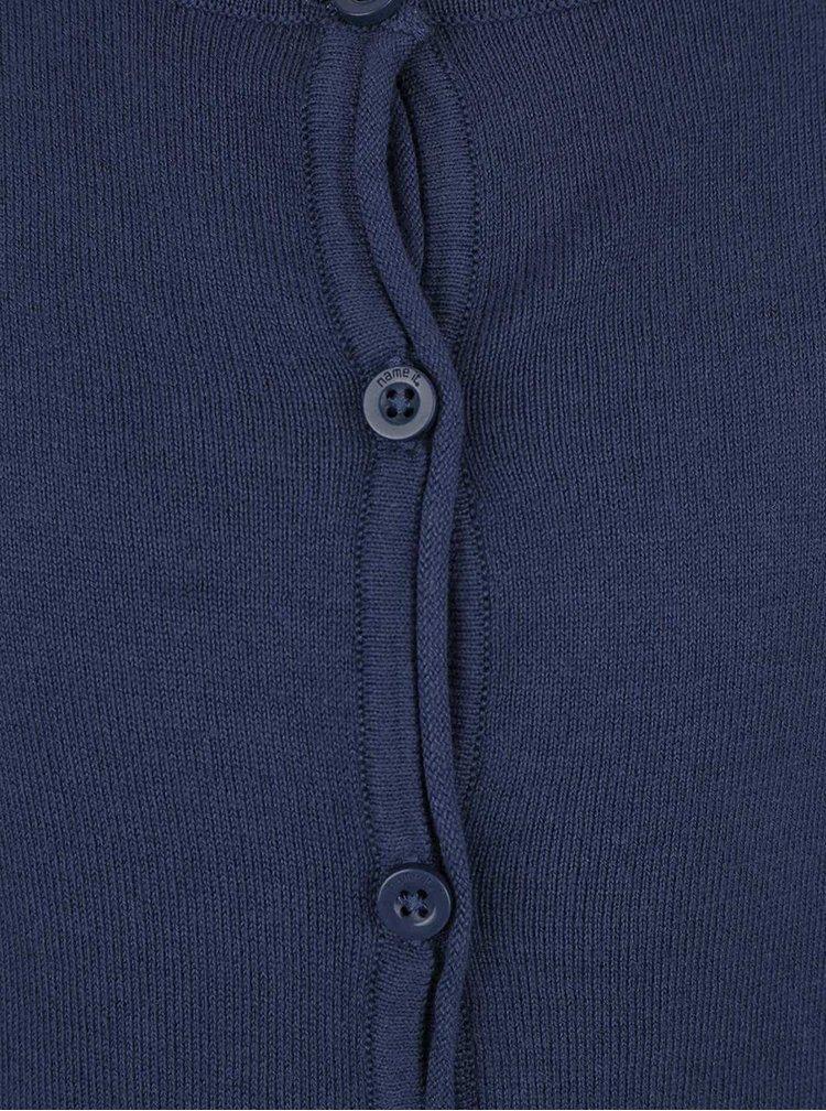 Tmavomodrý dievčenský zapínací sveter name it Mania