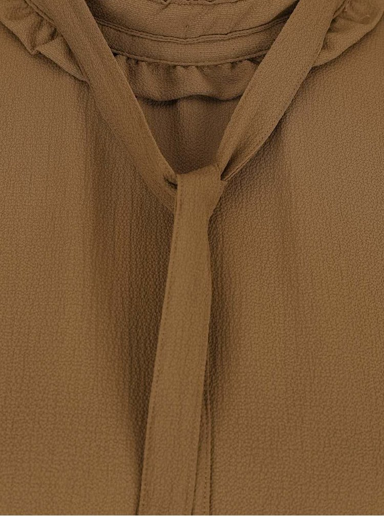 Kaki blúzka s kravatou VERO MODA Greta