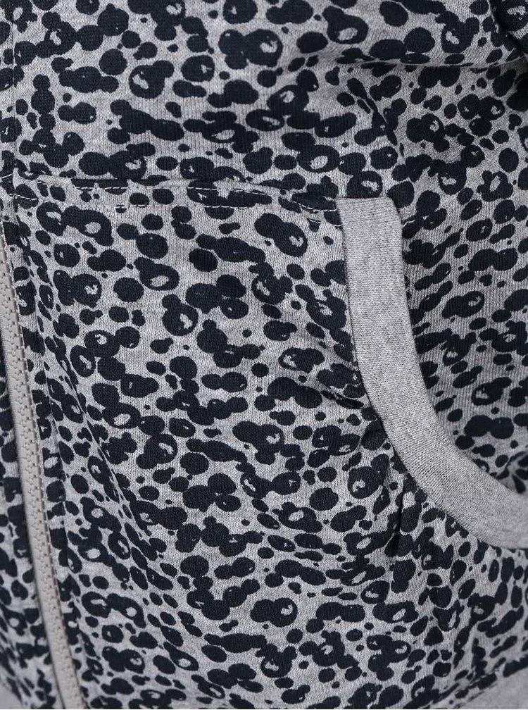 Šedá holčičí vzorovaná mikina na zip s kapucí name it Kayla