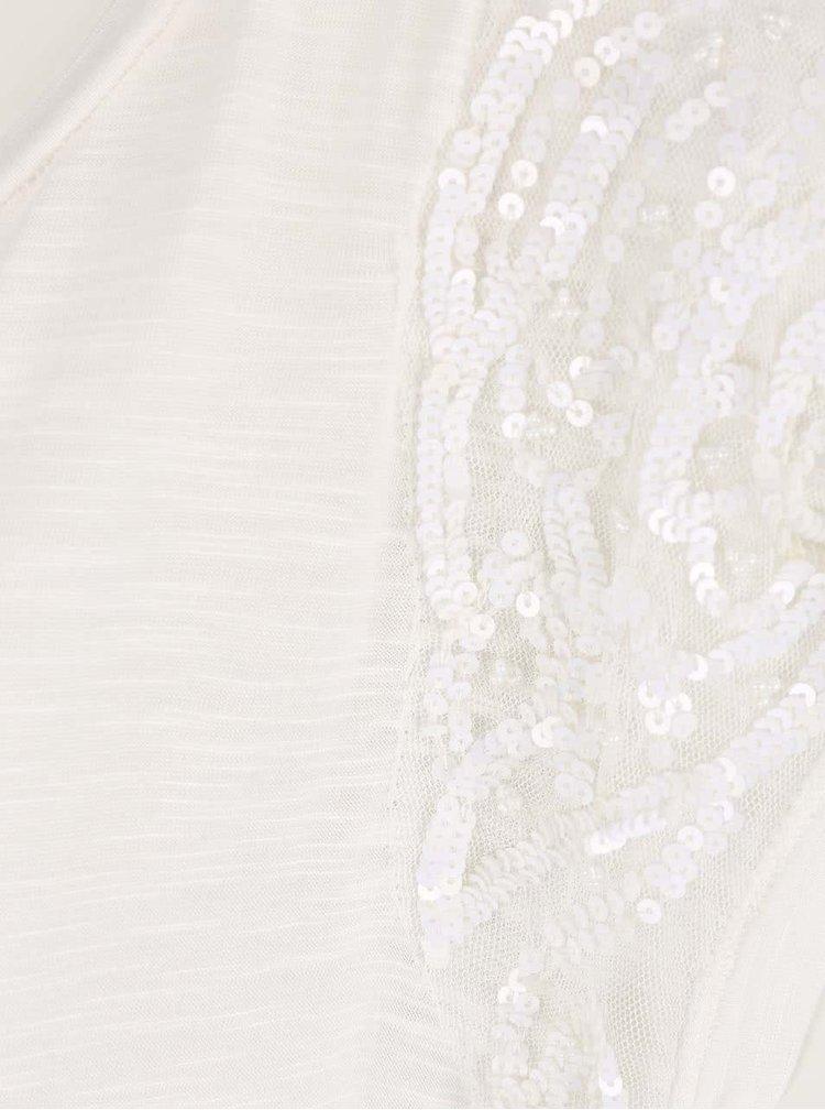 Krémový melírovaný top s flitrami na ramenách VERO MODA Tinna