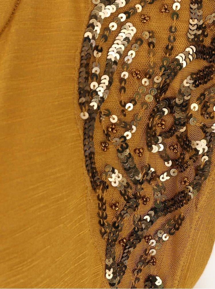 Žlutohnědý top s flitry na ramenou VERO MODA Tinna