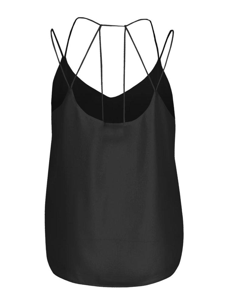 Černá halenka bez rukávů s tenkými ramínky VERO MODA Sexyback