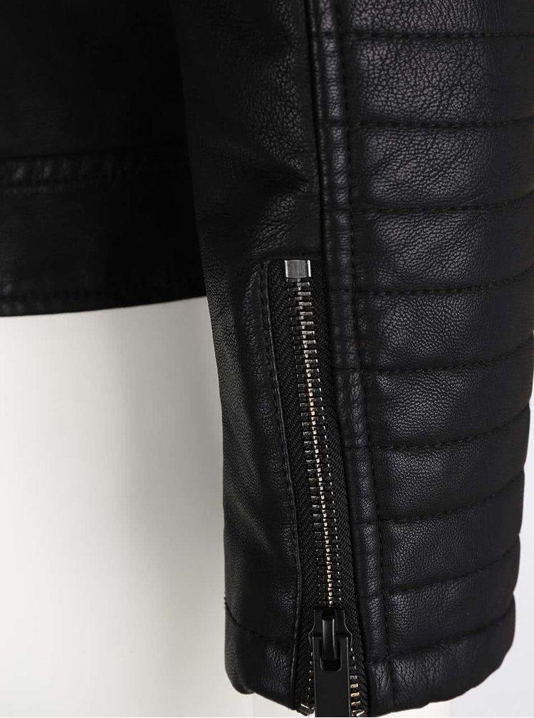 Čierna koženková bunda Noisy May Valle
