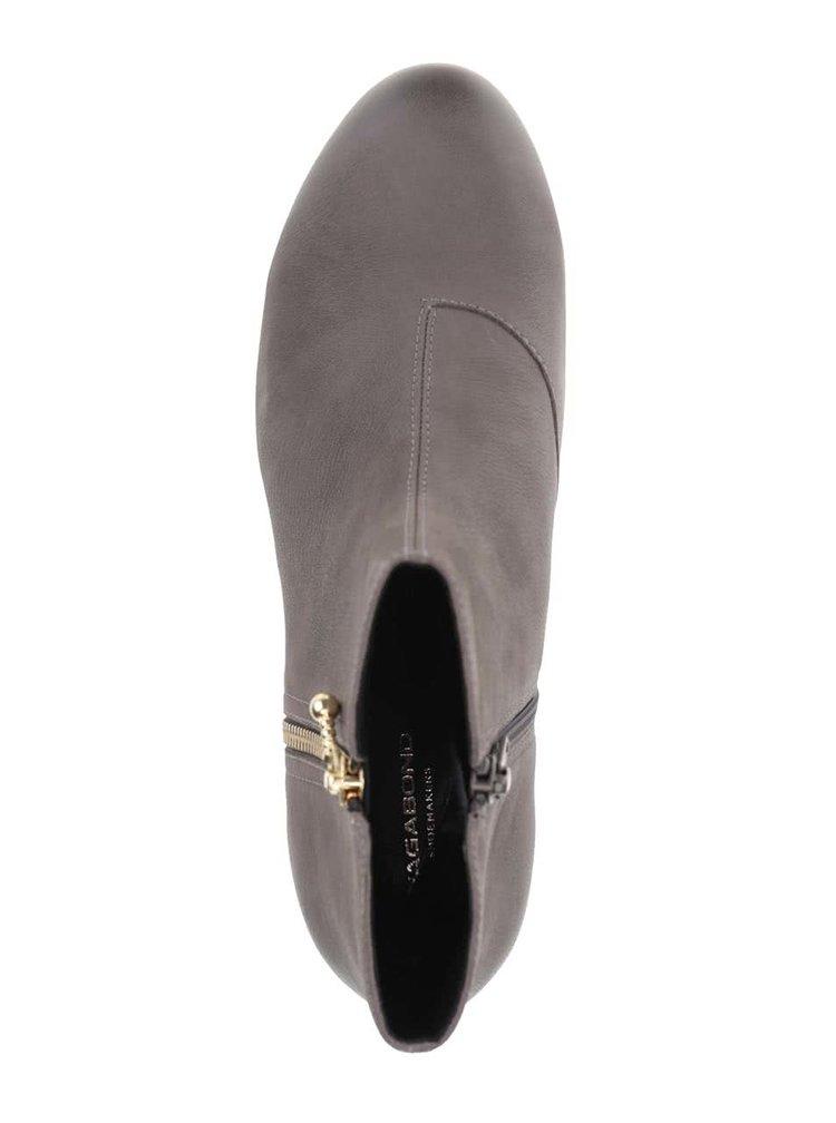 Šedé kožené kotníkové boty na malém podpatku Vagabond Sue