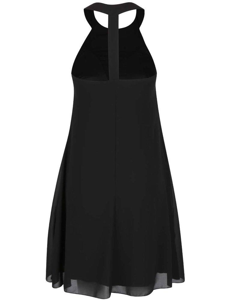 Čierne šaty s korálkovým dekoltom Little Mistress