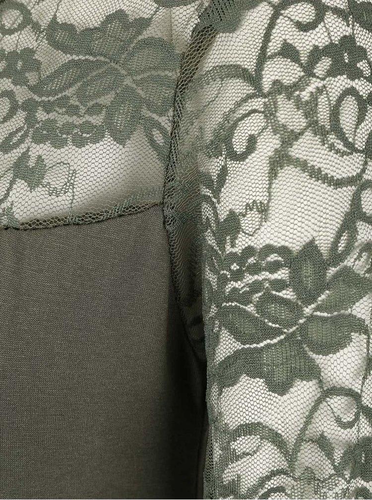Khaki tričko s krajkovaným sedlem a rukávy Madonna