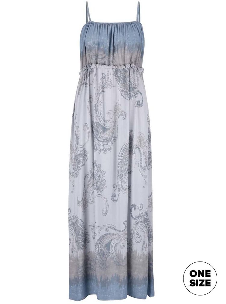 Modro-sivé vzorované maxi šaty na ramienka ZOOT Now