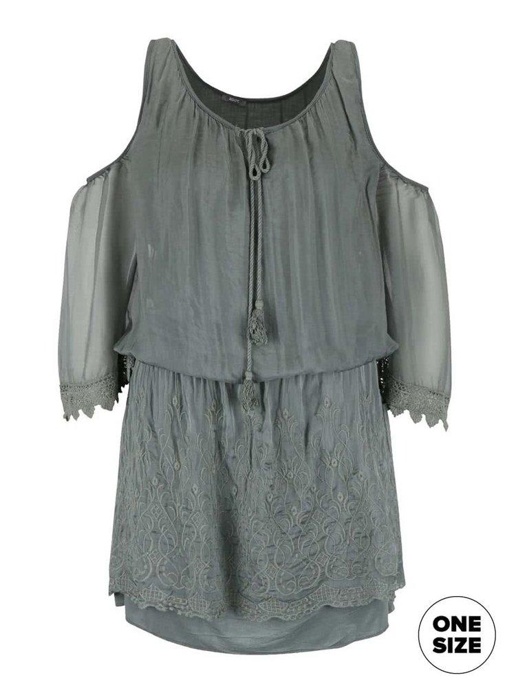 Zelené šaty s prestrihmi na ramenách ZOOT Simple
