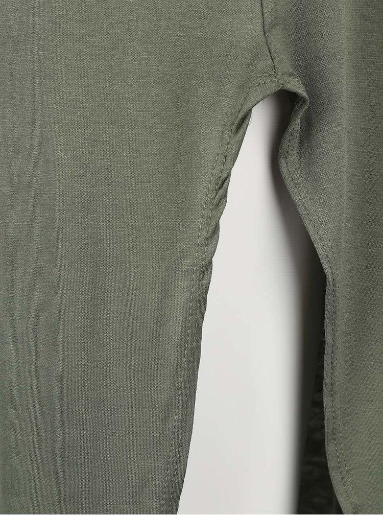 Olivově zelené šaty s krátkým rukávem Madonna
