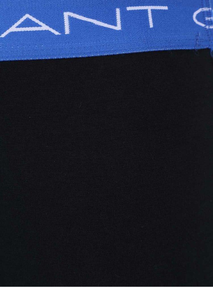 Súprava troch čiernych boxeriek s lemami v modrej, zelenej a černej farbe GANT