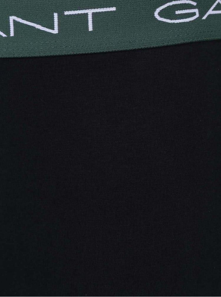 Sada tří černých boxerek s lemy v modré, zelené a černé barvě GANT