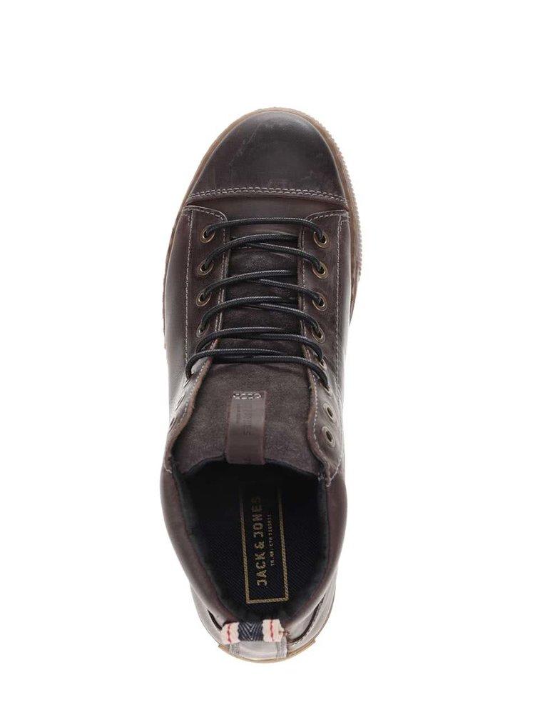 Čierno-hnedé kožené členkové topánky Jack & Jones Duran
