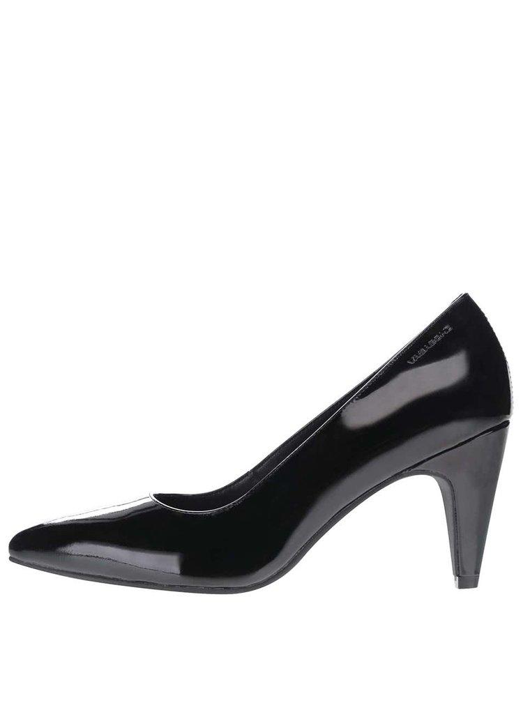 Pantofi negri cu toc Vagabond Esther din piele lăcuită