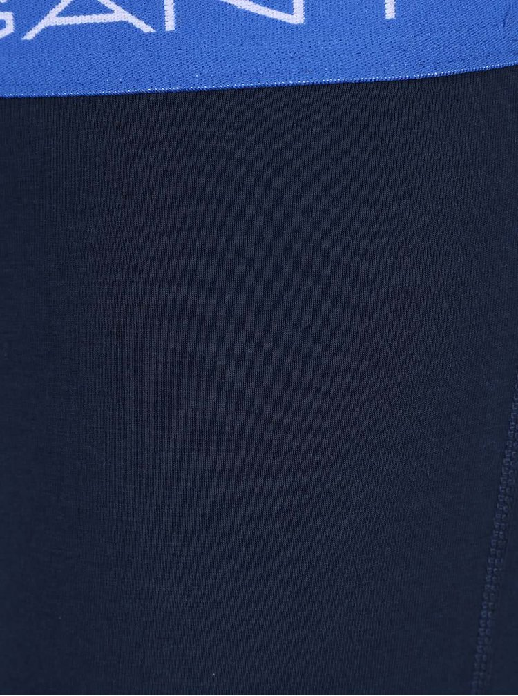 Súprava troch boxeriek v tmavomodrej farbe s lemami v oranžovej, modrej a zelenej farbe GANT