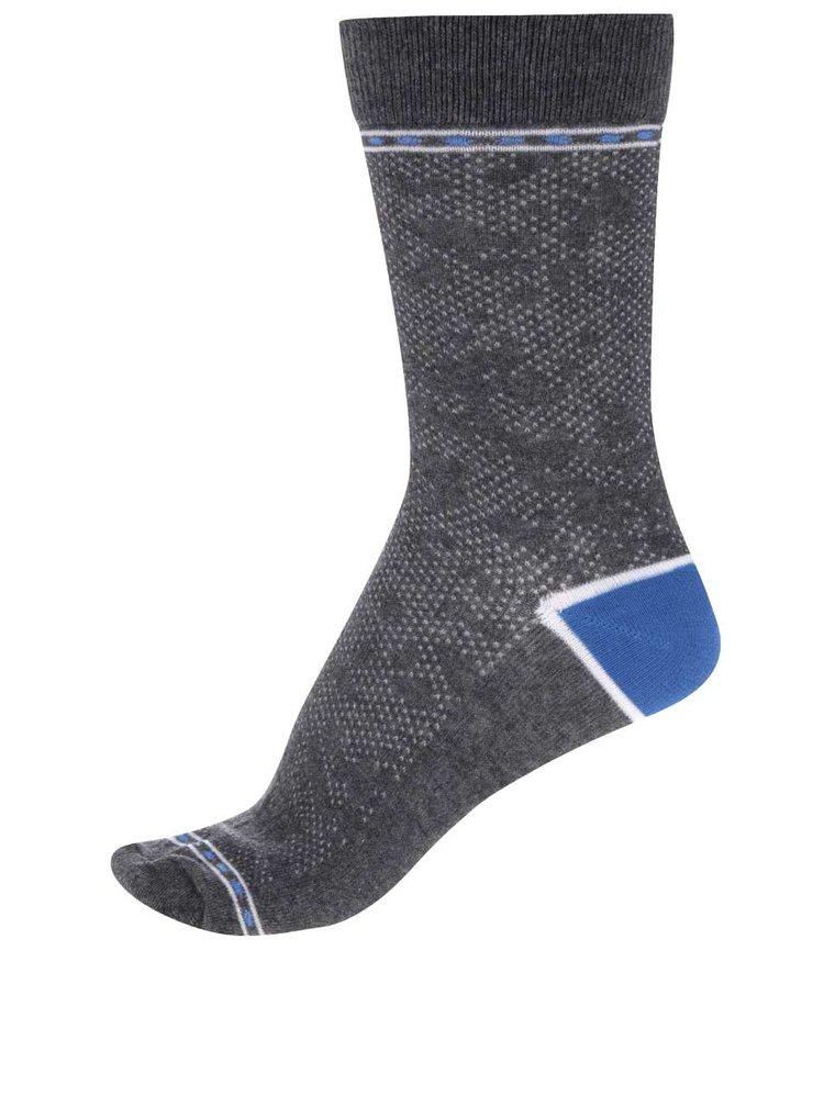Šedé vzorované ponožky s modrými detaily Jack & Jones Digger II.