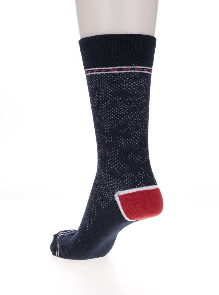 Tmavomodré vzorované ponožky s červenými detailmi Jack & Jones Digger