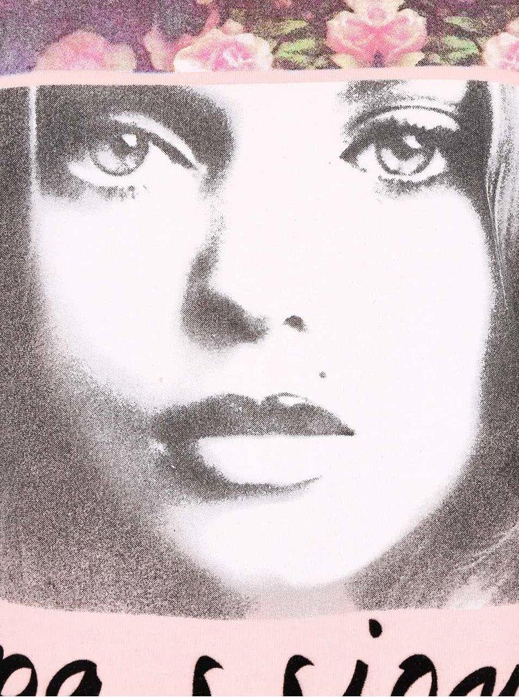Světle růžové tílko s potiskem Madonna