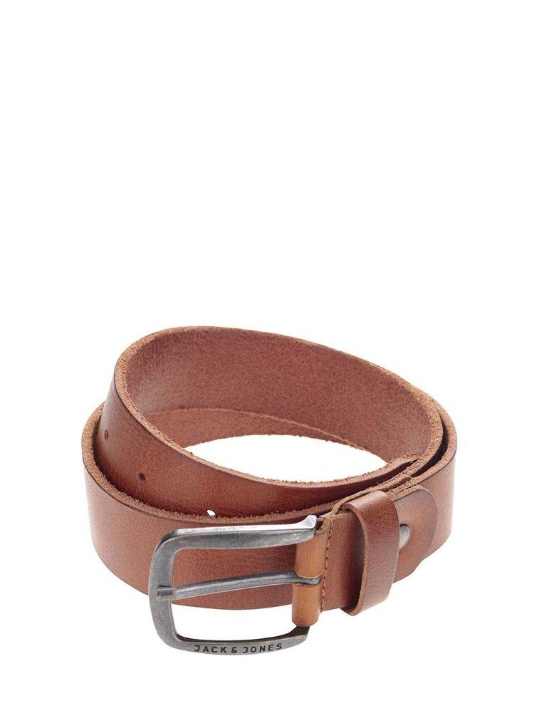 Hnědý kožený pásek Jack & Jones Paul